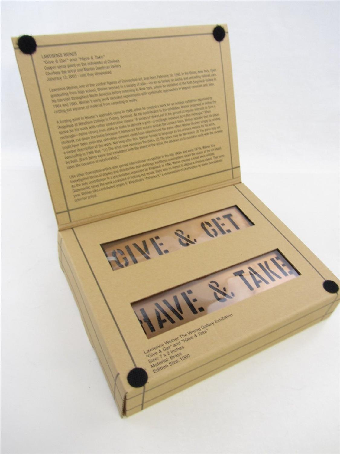 GIVE AND GET BRASS STENCIL SET BY LAWRENCE WEINER LIMITED EDITION HAVE AND TAKE