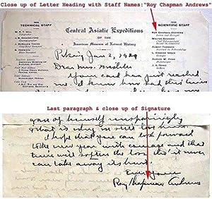 Roy Chapman Andrews: hand written & SIGNED: ANDREWS, Roy Chapman