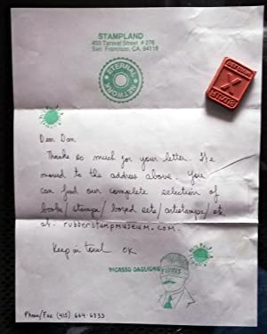A rubber stamp with hand written letter: GAGLIONE, Picasso /
