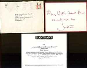 autograph note: hand SIGNED by Jacqueline Kennedy: KENNEDY, Jacqueline Onassis