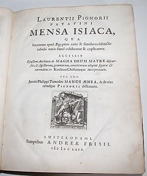 Mensa Isiaca, qua sacrorum apud aegyptios ratio: PIGNORIA, LAURENTIUS (LORENZO):