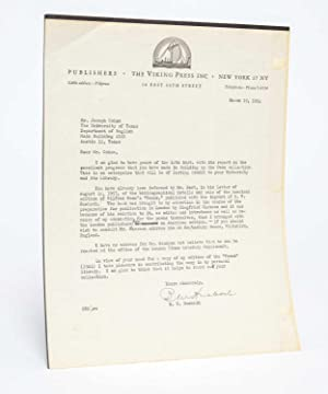 Signed letter from the American publisher of his book