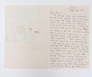 Autograph Letter Signed (ALS) to his Mother,: Kerouac, Jack