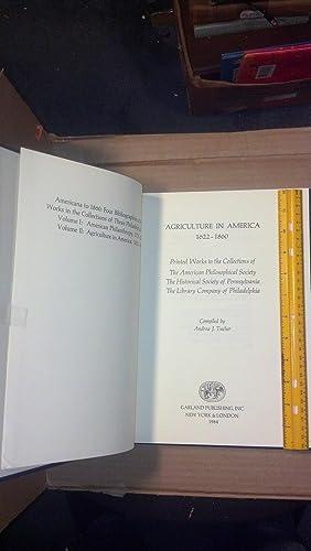 Agriculture In America 1622 (Americana To 1860): Tucher