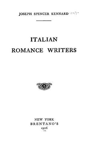 Italian Romance Writers: Kennard, Joseph Spencer