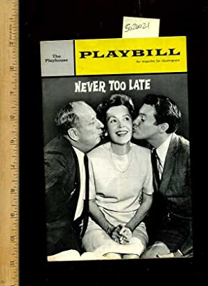 The Playbill for the Cornet Theatre : The Playhouse : Never Too Late : Vol. 1 December 9, 1963 No. ...