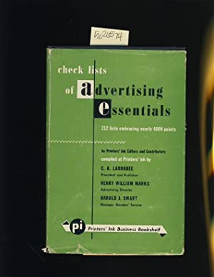 Check Lists of Advertising Essentials : 212 Lists Embracing Nearly 4000 Points [advanced Marketing ...