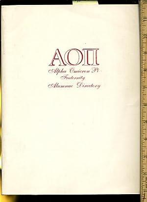 AOII :Alpha Omicron Pi Fraternity Alumnae Directory : 1993 [mission Statement, Landmarks, Founding ...