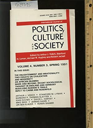 International Journal of Politics Culture and Society : Volume 4 Number 3 Spring 1991 : The ...