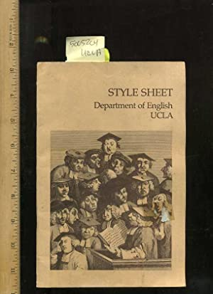 Style Sheet: Department of English UCLA [booklet of Style of Presentation, Customary or editoryal ...