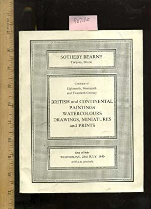 Catalogue / Catalog of British and Continental Paintings Watercolours / Watercolors ...