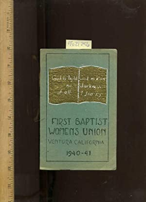 Booklet : A Booklet of Important Members, Church Officials and Schedule: First Baptist Womens Union...