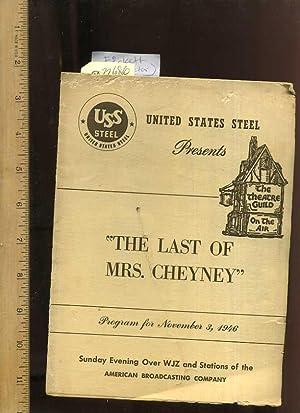 The Last Of Mrs Cheyney [ 1946: Fickett, Homer /