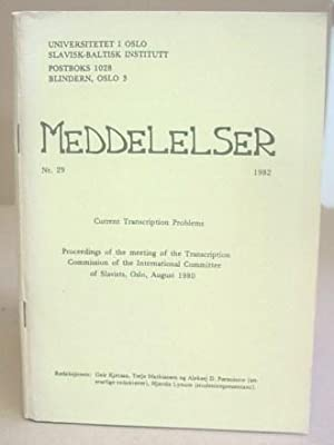 Meddeleser N°29 - Current Transcription Problems - Proccedings Of The Meeting Of The ...