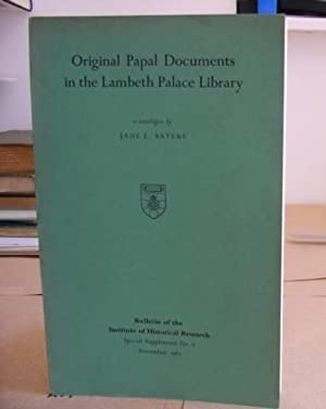 Original Papal Documents In The Lambeth Palace Library - Bulletin Of The Institute Of Historical ...