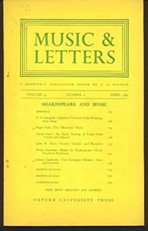 Music & Letters. a Quarterly Publication Volume 45