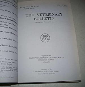 The Veterinary Bulletin 1956, Volume XXVI (12 Issues bound in 1 Volume)