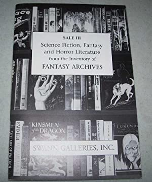 Sale III Science Fiction, Fantasy and Horror Literature from the Inventory of Fantasy Archives: P...