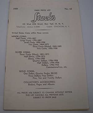 Stack's Fixed Price List No. 63, 1959 (United States Coins Catalog)