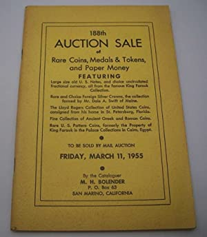 188th Auction Sale of Rare Coins, Medals and Tokens and Paper Money by M.H. Bolender, March 11, 1955