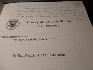 History of U.S. Table Tennis Volume 1: 1928-1939