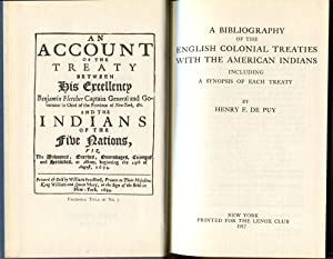 A Bibliography of the English Colonial Treaties with the American Indians: De Puy, Henry F.