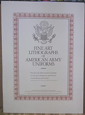 Fine Art Lithographs of American Army Uniforms (Set of 4 Limited/signed Prints in folder): ...