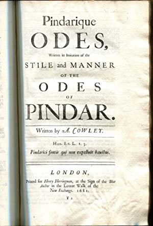 THE WORKS OF MR. ABRAHAM COWLEY. Consisting of Those which were formerly Printed: And Those which ...