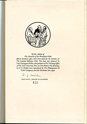The Autocrat of the Breakfast Table (Signed/ Limited Ed.): Holmes, Oliver Wendell & Holden, R....