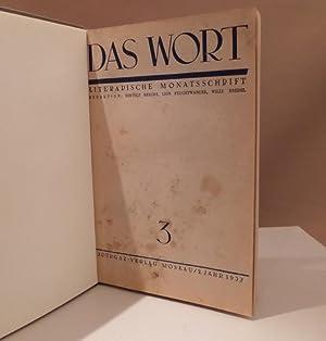 Das Wort. Literarische Monatsschrift. Redaktion: Bertolt Brecht,