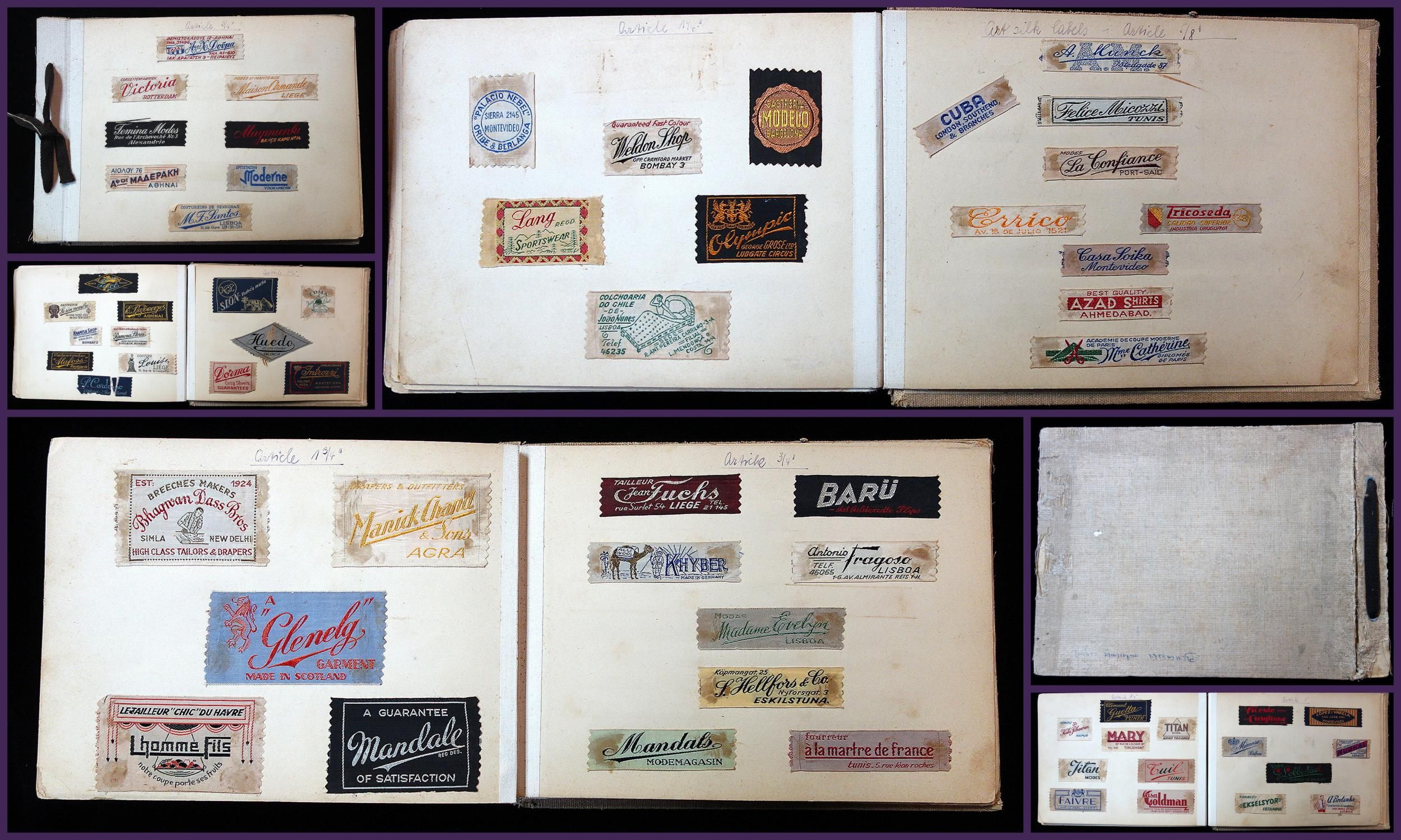 Salemen's Sample Book - International Selection of Silk Fabric Labels for Clothing 22 page sample book with 5-10 different woven silk examples of silk and cotton fabric labels for garments. Printed in a variety of styles, shapes, lan