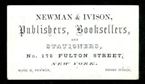 Business Card and Book Publisher's List - Newman & Ivison Publishers, Booksellers, and Stationers,