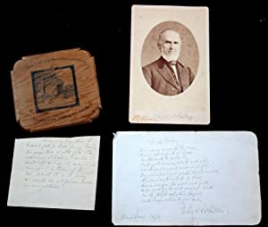 Autographed Cabinet Card, Manuscript Sign Verse and pen and ink of