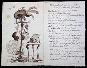 Mid -18th C. Poem & Watercolor - an acerbic commentary on the artifices and contrivances of conte...