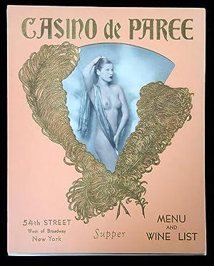 Casino de Paree Menu and Wine List,