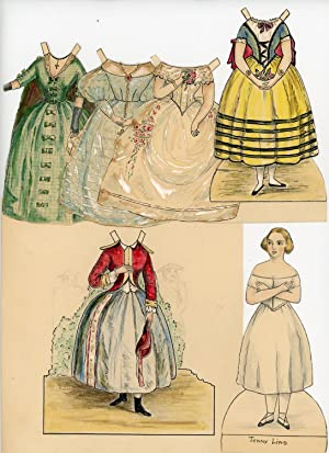 Handmade Jenny Lind Paper Doll w 5 Handmade Costumes