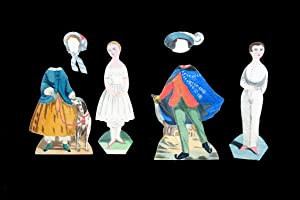 2 finely executed paper dolls with 2 costumes and 2 hats done after 1850s Brave Boy and Little Gi...