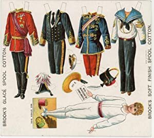 Uncut Advertising Paper Dolls Sheet - Young Boy with 4 Military Costumes