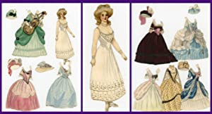 Fine Handmade Watercolor Paper Doll - Marie Antoinette w 3 costumes and hats