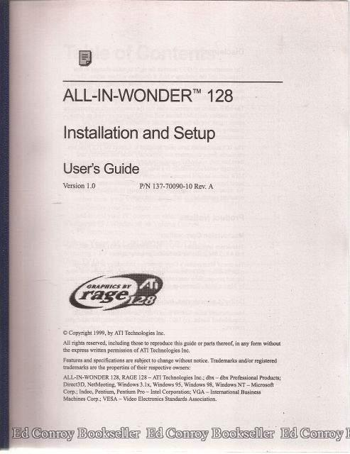 All-In Wonder 128 Installations and Setup User's Guide ATI Technologies, Inc. [Very Good] [Softcover] (bi_22427495762) photo