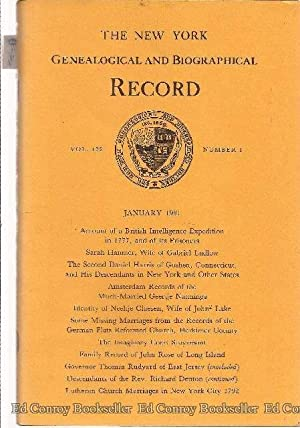 The New York Genealogical and Biographical Record *Volume 122 Numbers 1-4 Complete* January 1991: ...