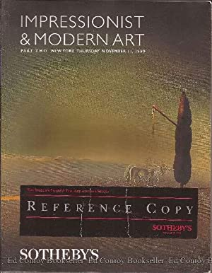 Impressionist & Modern Art Part Two New York Thursday, November 11, 1999: Sotheby's