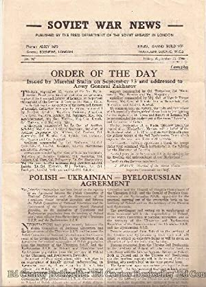 Soviet War News No. 962 Friday, September 15, 1944: Author Not Stated
