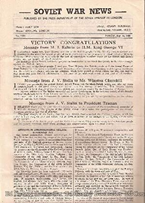 Soviet War News No. 1154 Saturday, May 12, 1945: Author Not Stated