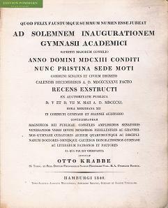 Ecclesiae Evangelicae Hamburgi Instauratae Historiam. Ad solemnem inaugurationem gymnasii academici...