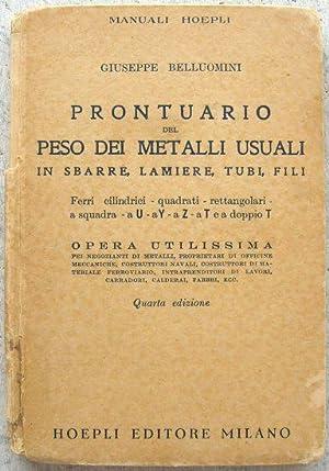 Prontuario del peso dei metalli usuali in: Giuseppe Belluomini