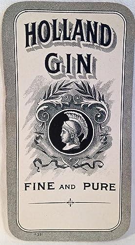 Liquor Label] Holland Gin Fine and Pure