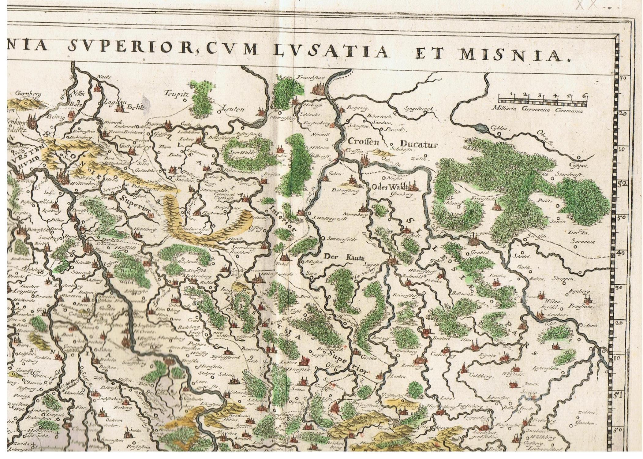 Lausitz Karte.Saxonia Superior Cum Lusatia Et Misnia