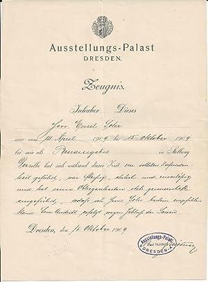 Ausstellungs - Palast Dresden. Zeugnis für Herrn: Schreiben Dresdner Firmen: