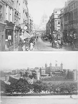 Original - Fotografien. 8 Albuminabzüge. London Brige, Thames embankment, Windsor castle from the...